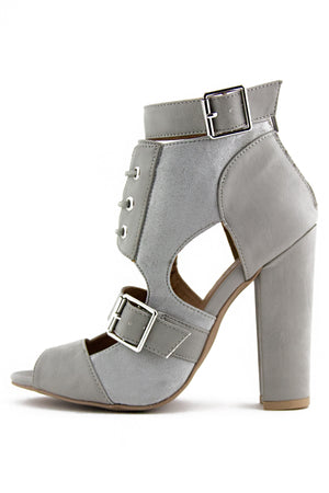 STRAPPY BOOTIE SANDAL - Light Grey - Haute & Rebellious