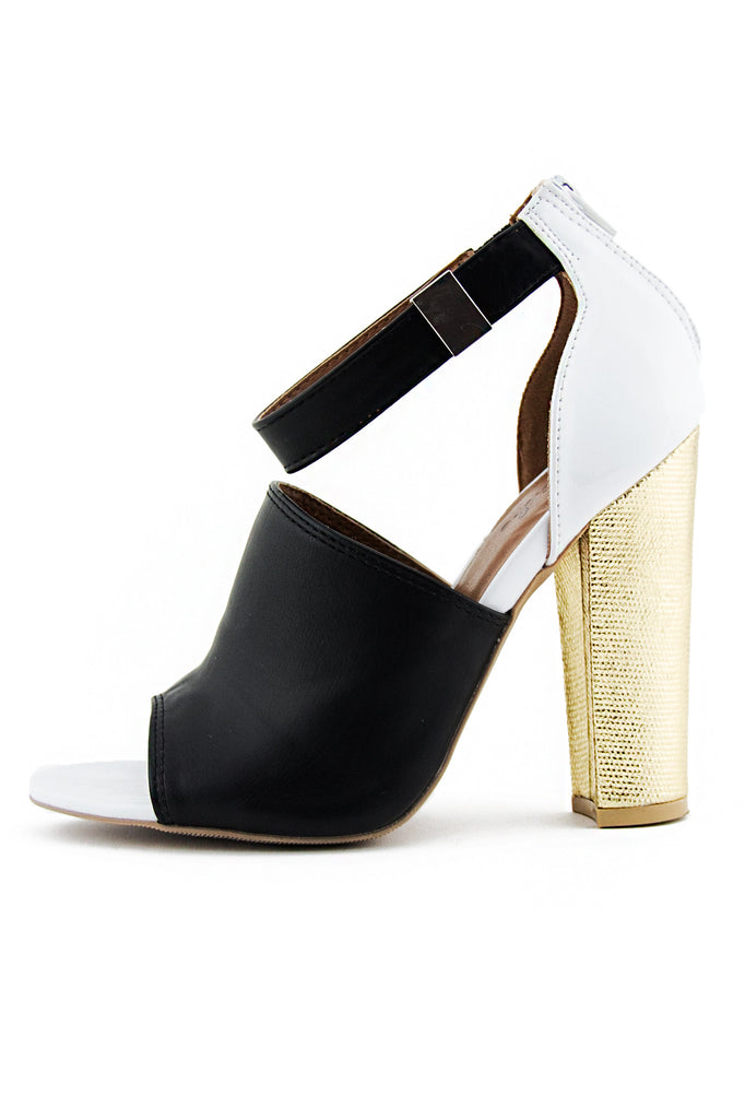 OPEN TOE STRAP SANDAL HEEL - Black