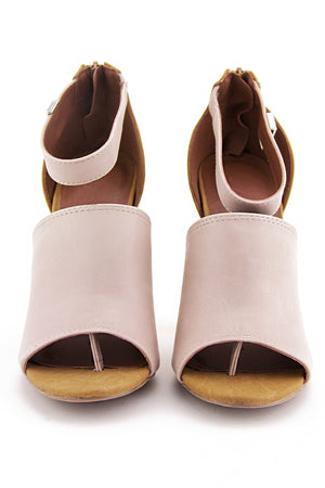 OPEN TOE STRAP SANDAL HEEL - Cream - Haute & Rebellious