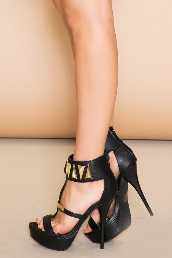 FARAH TRIANGLE PLATED HEEL - Black - Haute & Rebellious