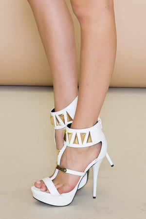 FARAH TRIANGLE PLATED HEEL - White - Haute & Rebellious