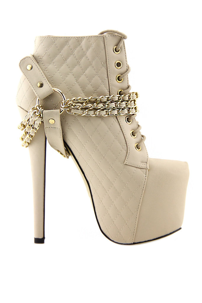 CHANTEL CHAINED PLATFORM BOOTIE - Cream