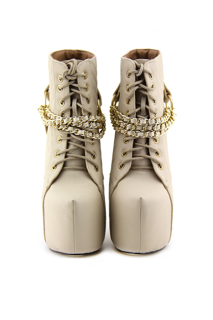 CHANTEL CHAINED PLATFORM BOOTIE - Cream - Haute & Rebellious