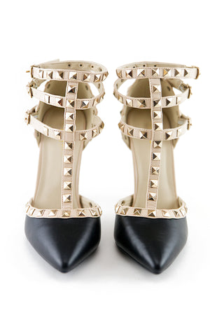 VALENTINE STUDDED STRAP PUMP - BLACK - Haute & Rebellious