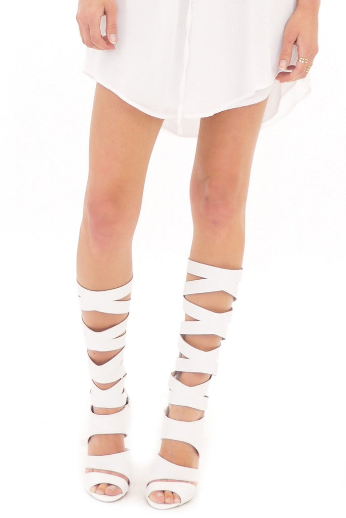 LANA HIGH GLADIATOR SANDAL - WHITE - Haute & Rebellious