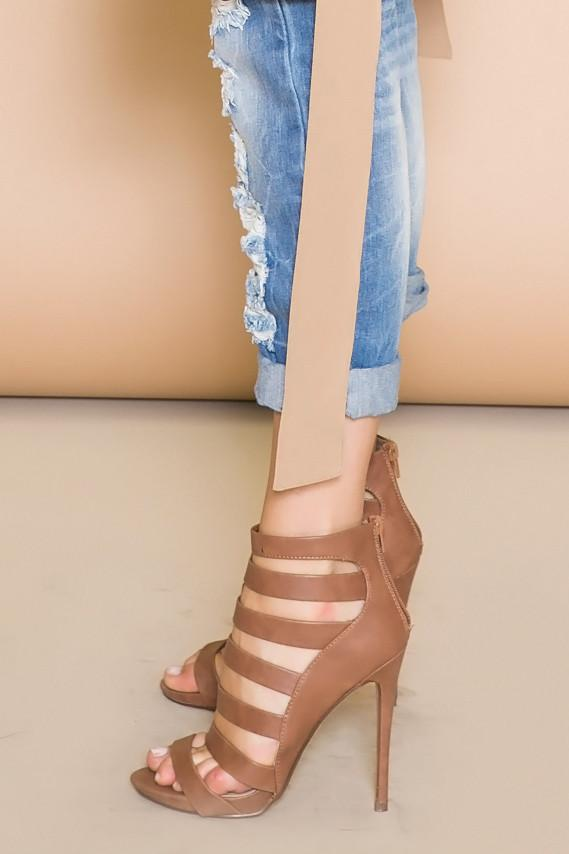 BENIT STRAPPY SANDAL HEEL - BROWN