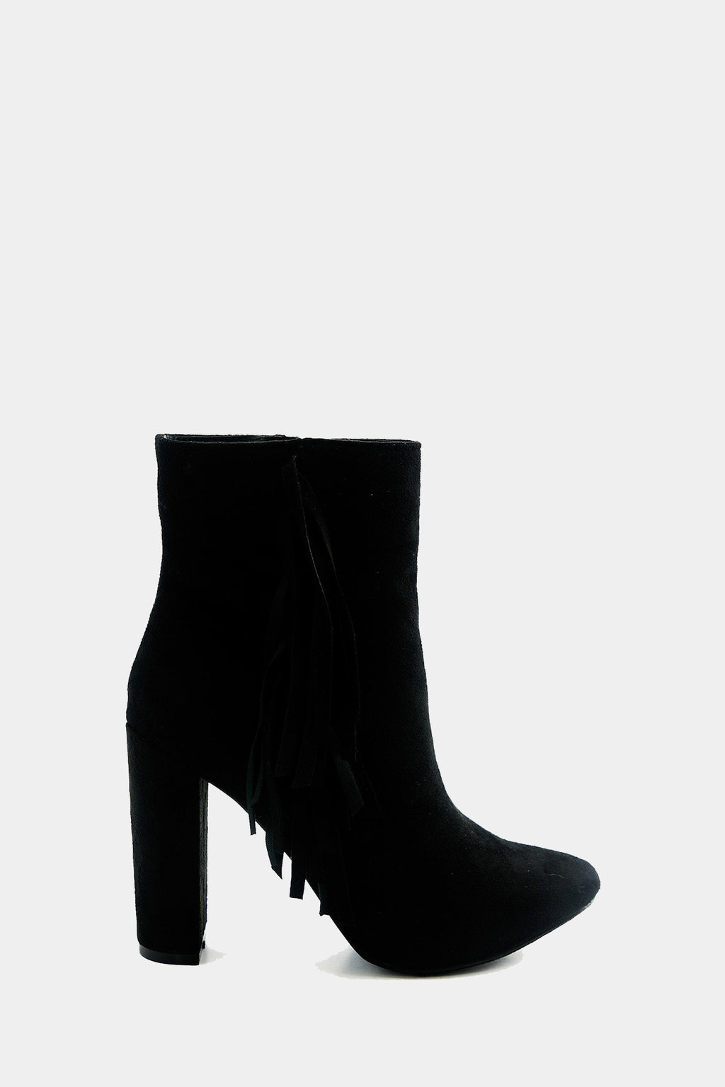 Suede Fringe Ankle Boot - Black