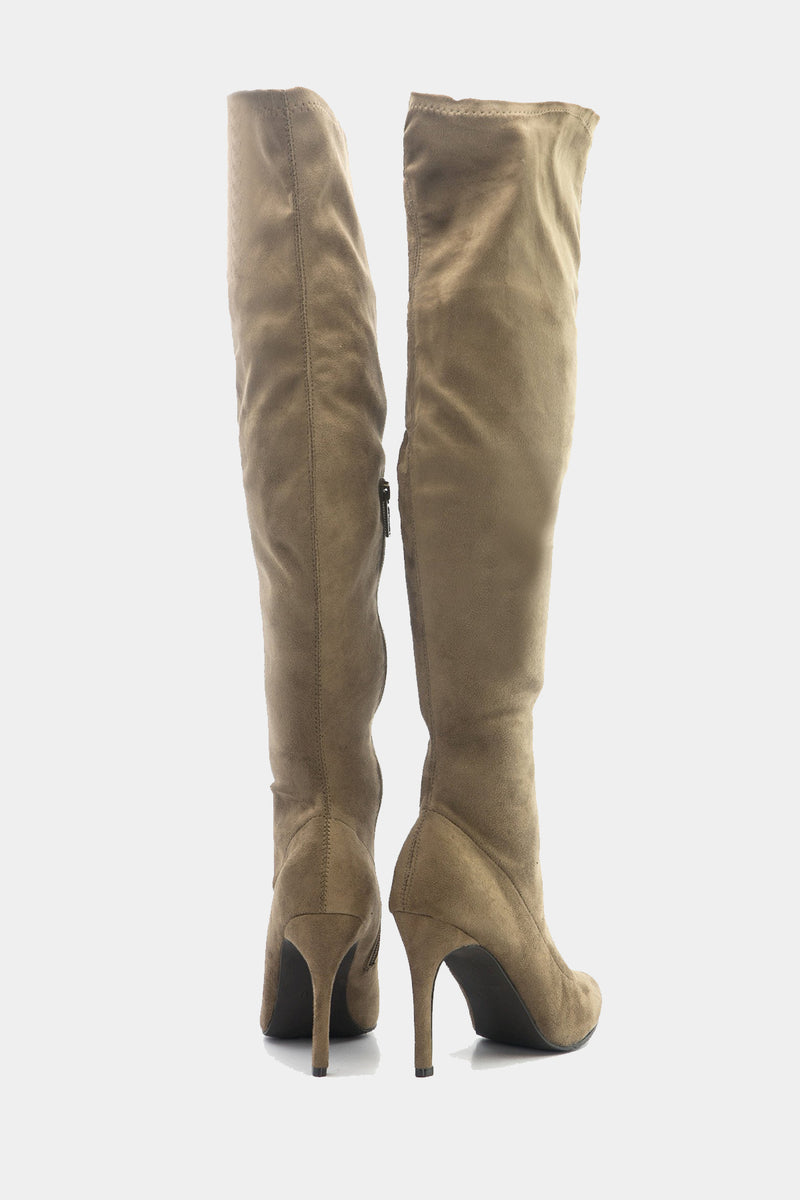 Cari Knee High Boots - Taupe