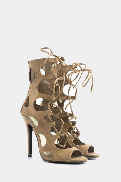 Lea Lace-Up Sandal Heel - Natural /// Only Size 7, 8, 10 Left ///