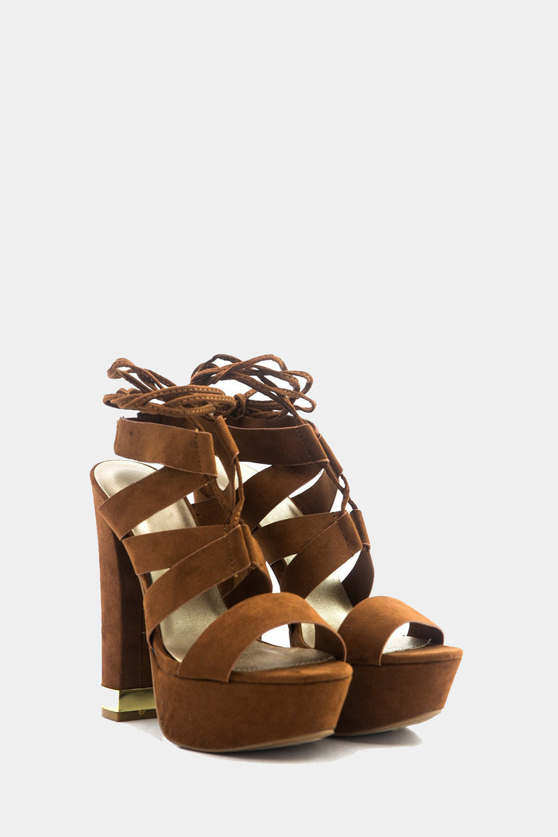 Nyla Strappy Sandal Heel - Brown
