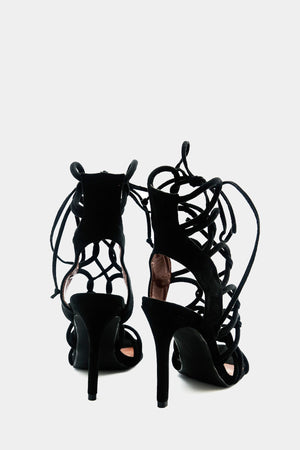 Lanie Lace-Up Heel - Black /// Only Size 6, 7.5, 8.5 Left ///