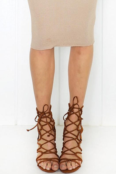 Lanie Lace-Up Heel - Chestnut - Haute & Rebellious