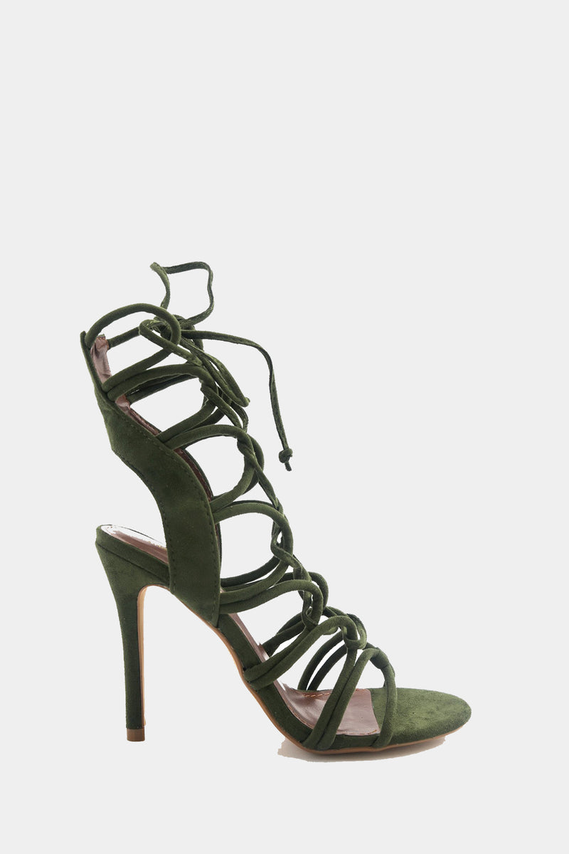 Lanie Lace-Up Heel - Olive /// Only Size 8, 8.5, 9, 10 Left ///