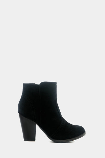Chunky Heel Suede Bootie - Black /// Only Size 7 & 10 Left ///