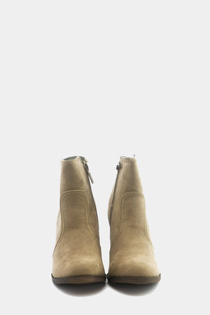 Suede Ankle Boot - Beige