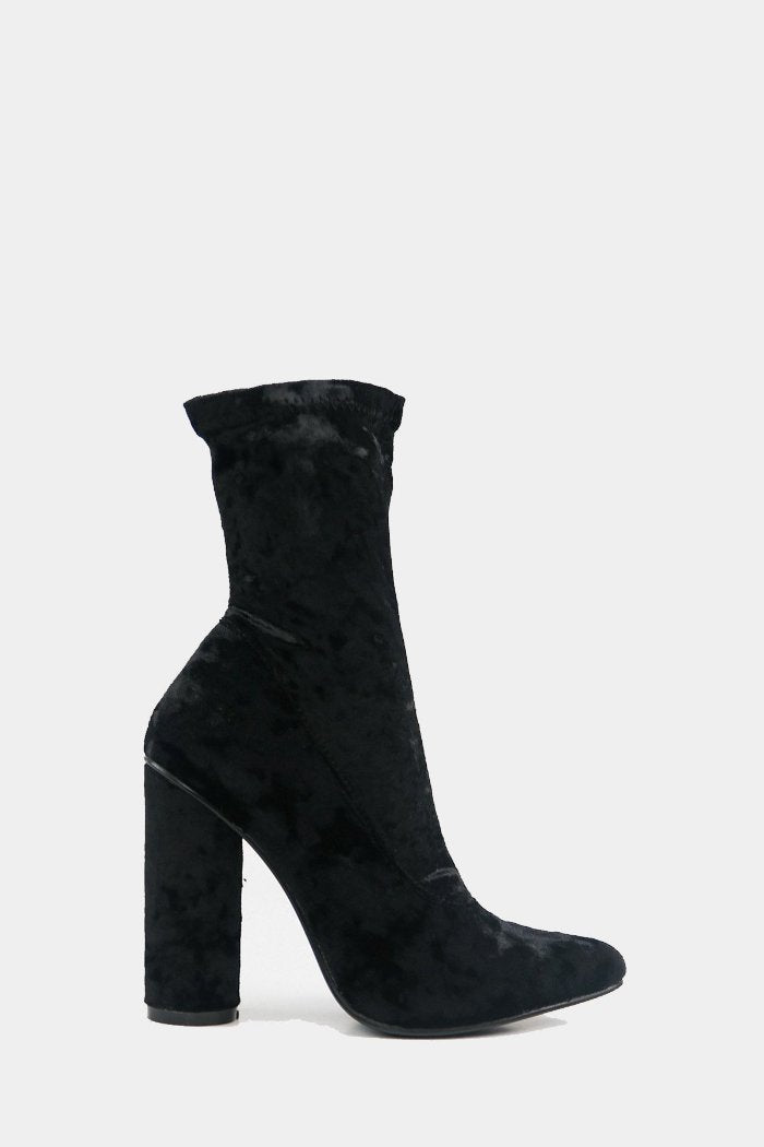 Crush It Velvet Ankle High Booties