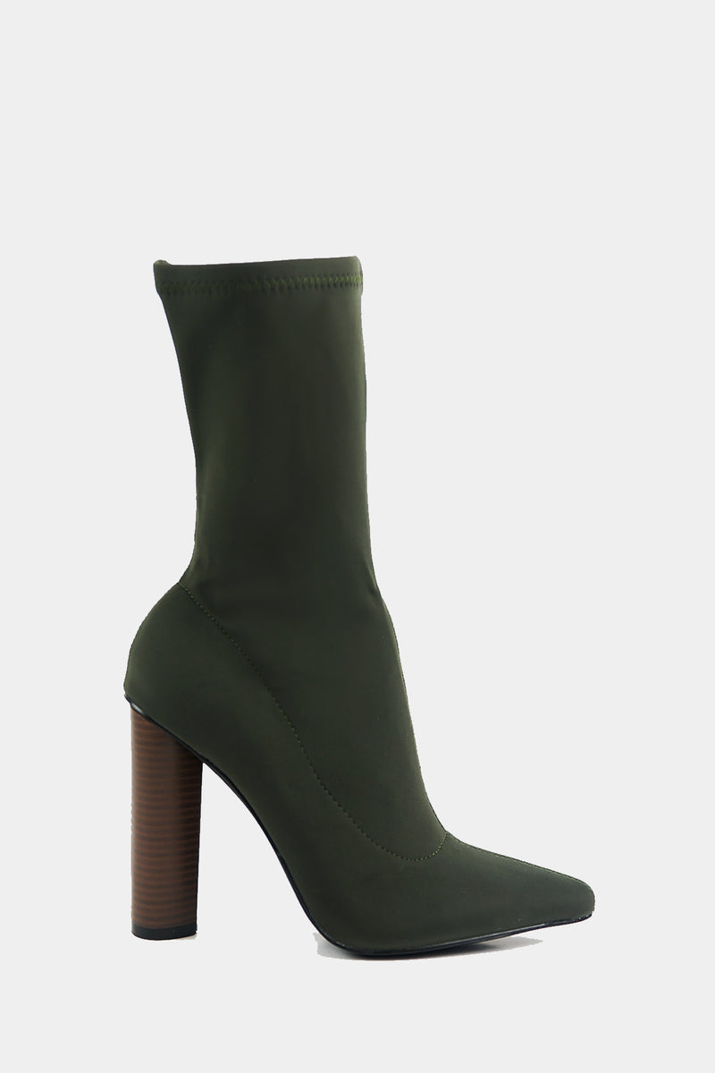 Walk The Talk Sock Booties - Olive