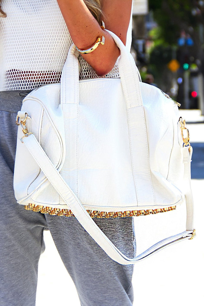 ERICSON GOLD STUDDED BAG - White
