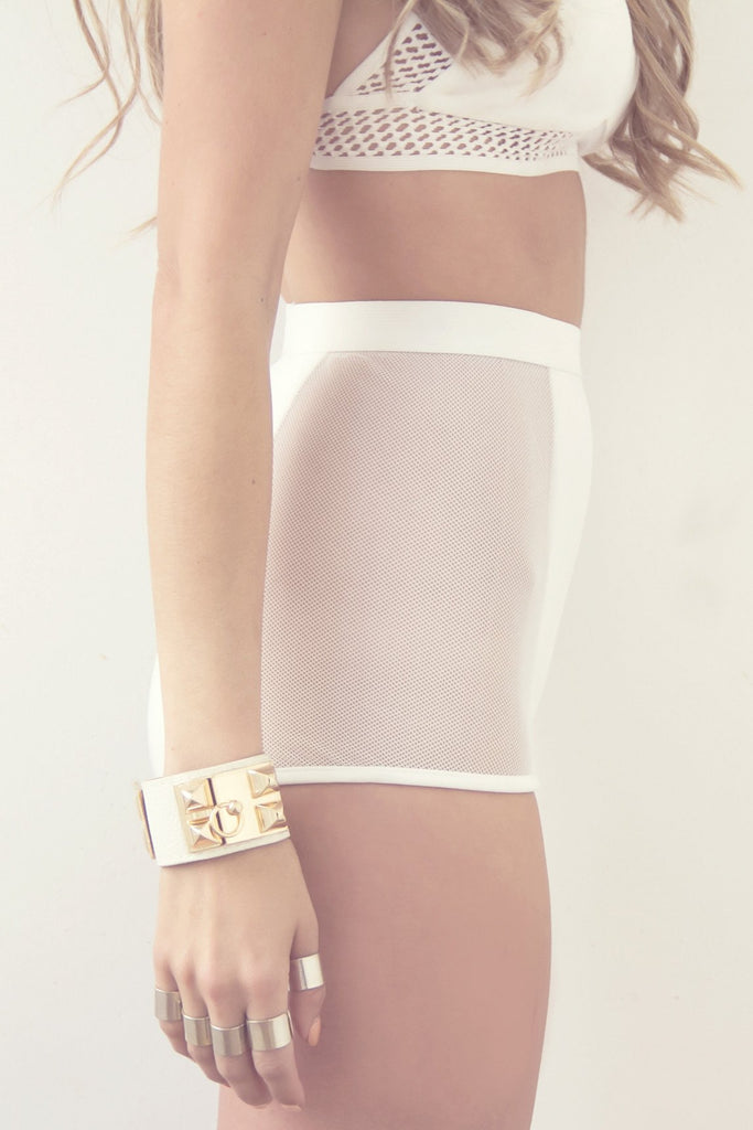 MELO MESH BOOTY SHORTS - White