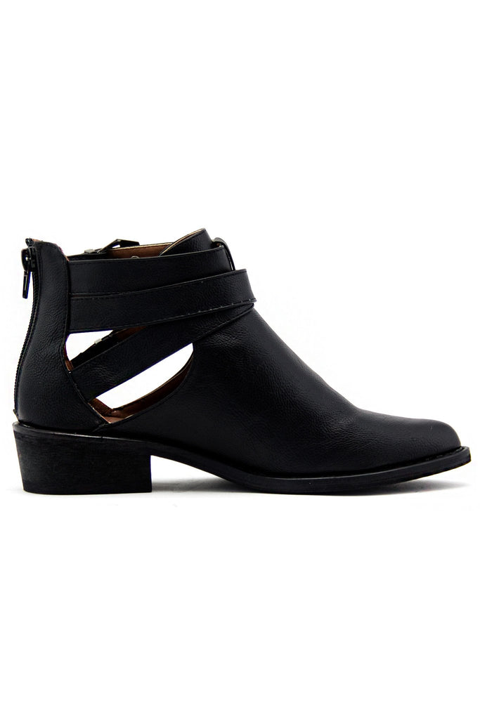 IVY TWO BUCKLE CUTOUT BOOTIE - Black - Haute & Rebellious