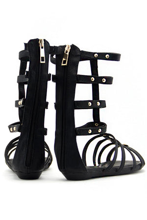 ATHENA LOW GLADIATOR SANDAL - Black - Haute & Rebellious