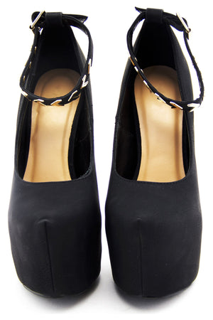 MALIA TRIANGLE ANKLE STRAP HEELS - Black - Haute & Rebellious