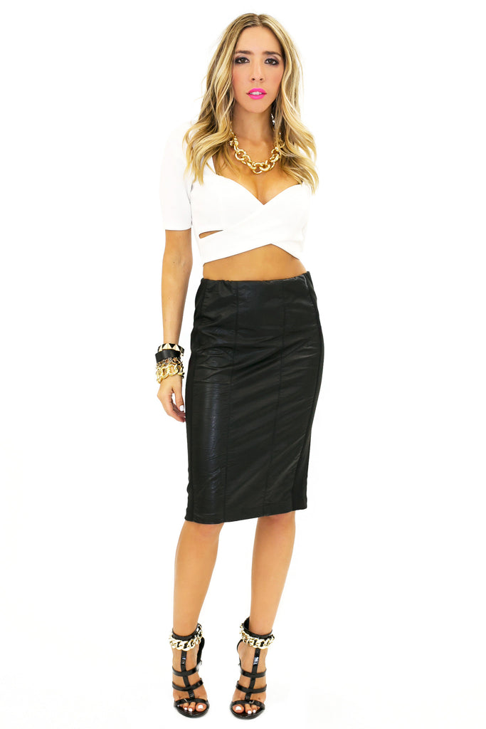 WYONA VEGAN LEATHER PENCIL SKIRT