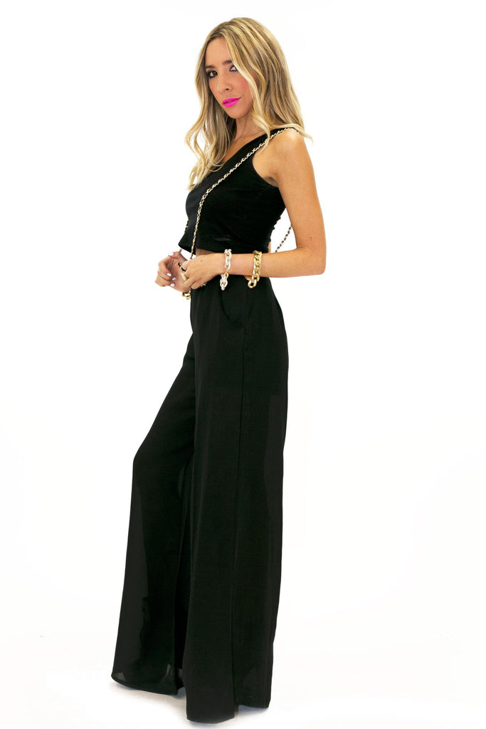 CHIFFON PANT WITH SUSPENDERS