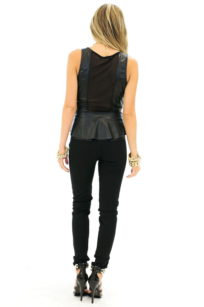 VALI LEATHER PEPLUM TOP