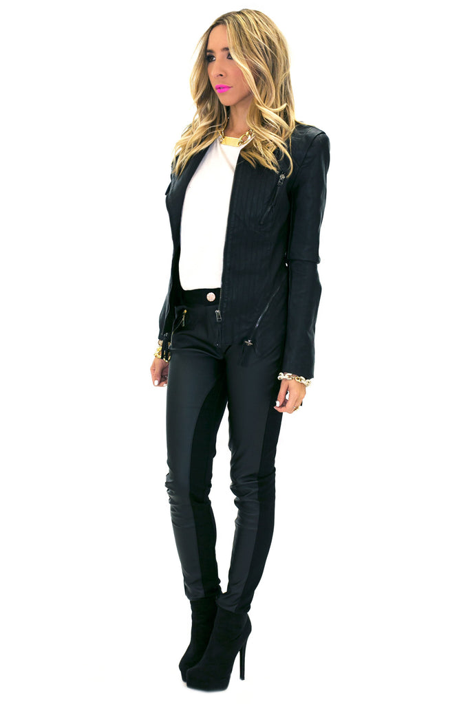 VIXIN LEATHER CONTRAST PANT