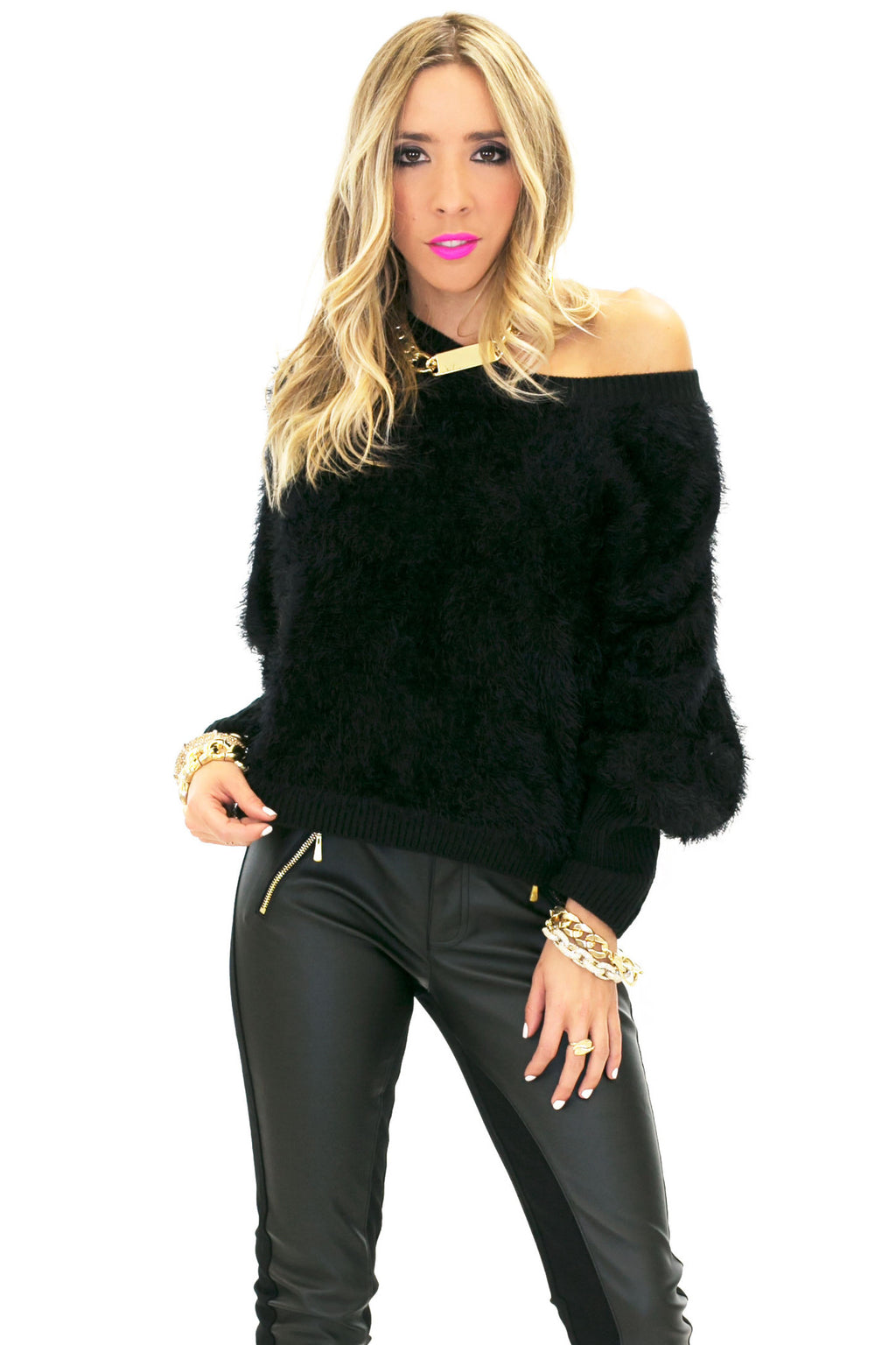 VELA SHAG FUR SWEATER - Black - Haute & Rebellious