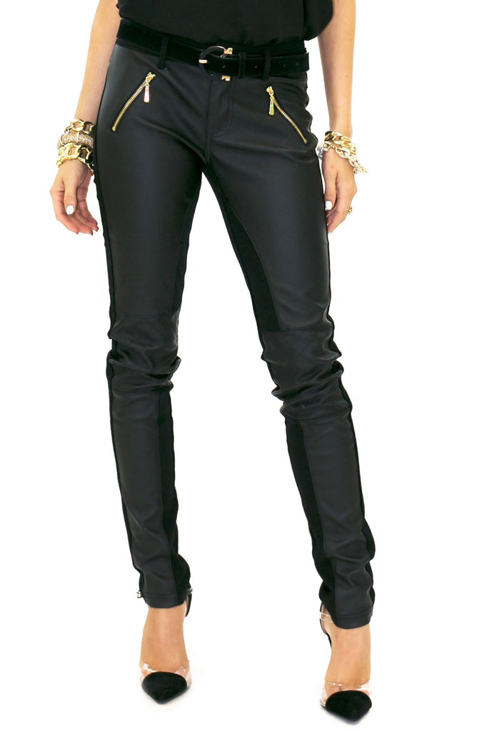 BRUCE LEATHER CONTRAST PANT WITH KNEE QUILT DETAIL