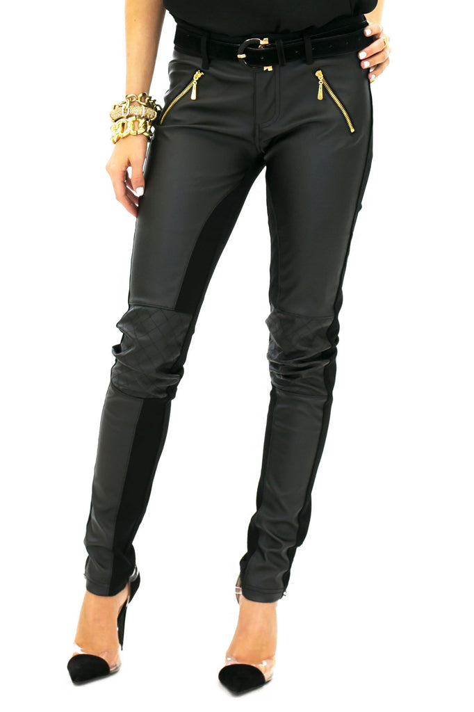 BRUCE LEATHER CONTRAST PANT WITH KNEE QUILT DETAIL - Haute & Rebellious