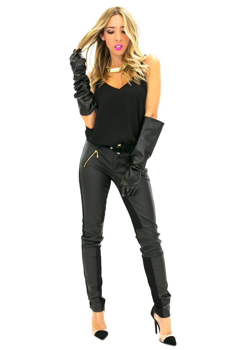 VEGAN LEATHER GLOVE - Black - Haute & Rebellious