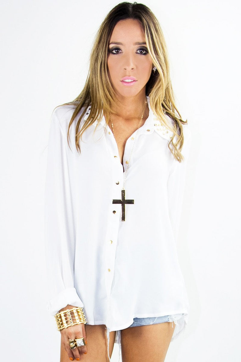 LONG SLEEVE BLOUSE WITH STUDDED NECK -  White - Haute & Rebellious
