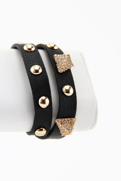 PYRAMID & STUDS BAND - Black