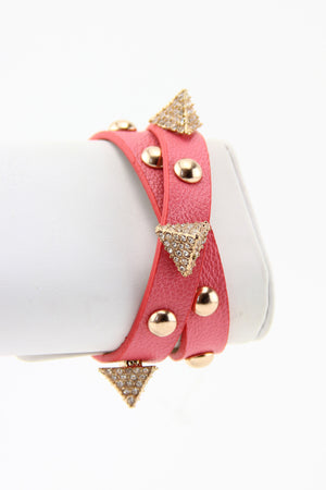 PYRAMID & STUDS BAND - Coral - Haute & Rebellious