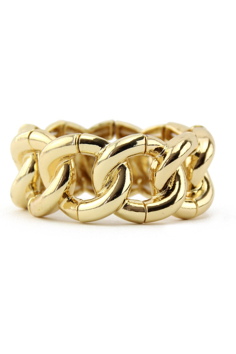 LARGE GOLD CHAIN LINK BRACELET - Gold - Haute & Rebellious