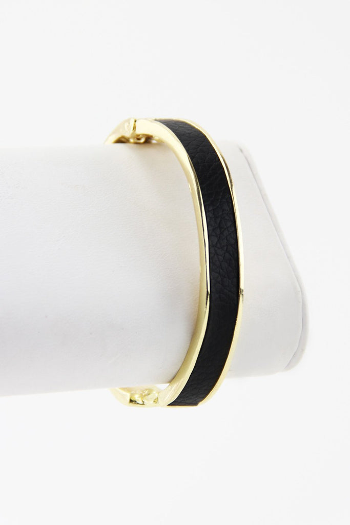 CRYSTALS & LEATHER CUFF - Black