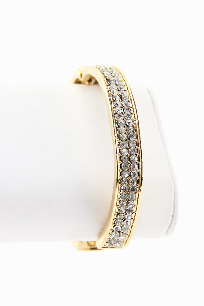 CRYSTALS & LEATHER CUFF - White
