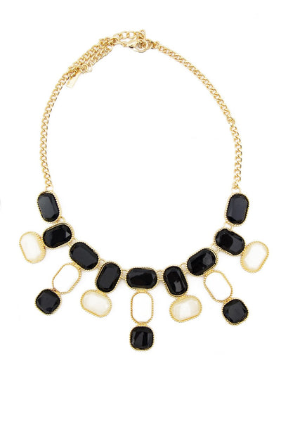 CERAM & BLACK STONES NECKLACE
