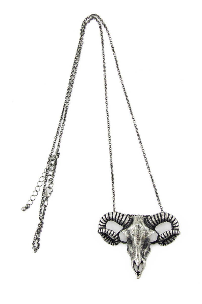 RAM SKULL NECKLACE - Silver - Haute & Rebellious