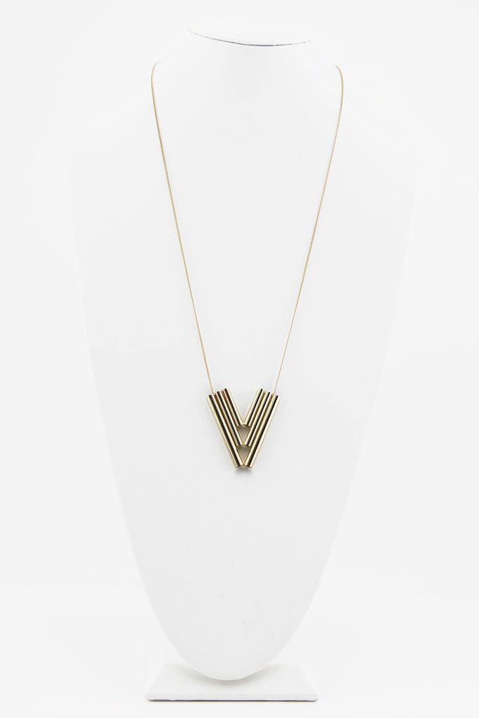 TRIBAL GOLD PIPE NECKLACE - Haute & Rebellious