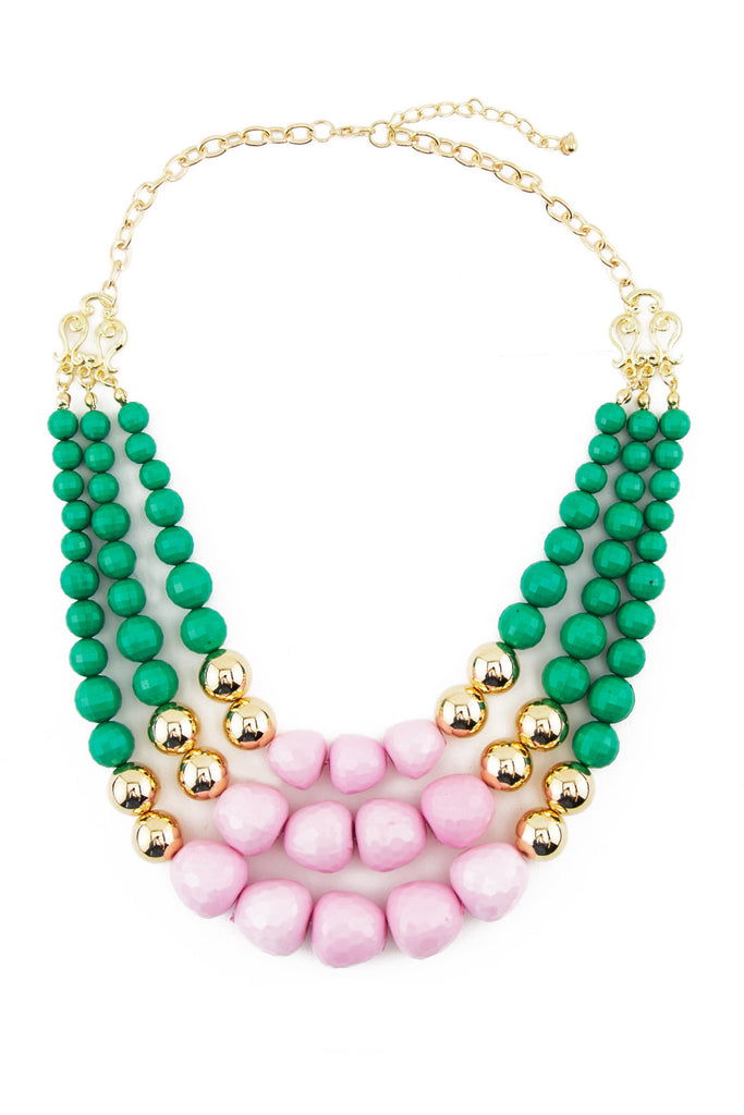 TRI LAYER COLOR STONE NECKLACE - Emerald/Pink/Gold