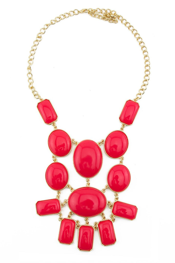 LARGE CORAL STONE NECKLACE