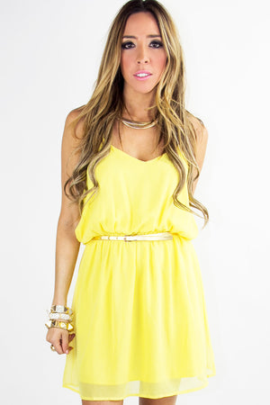 T BACK DRESS - Yellow - Haute & Rebellious