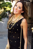 CHIFFON BLOUSE WITH GOLD SKULLS - Black