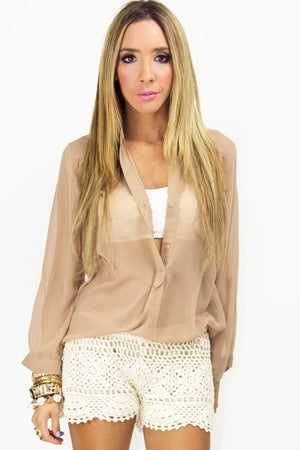 BASIC CHIFFON BLOUSE - Nude - Haute & Rebellious