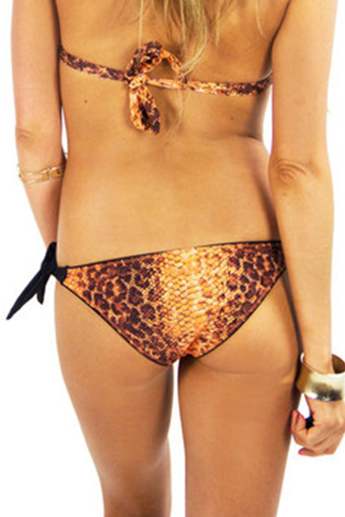 Snakeskin Print Bikini Bottom - Orange (Final Sale)