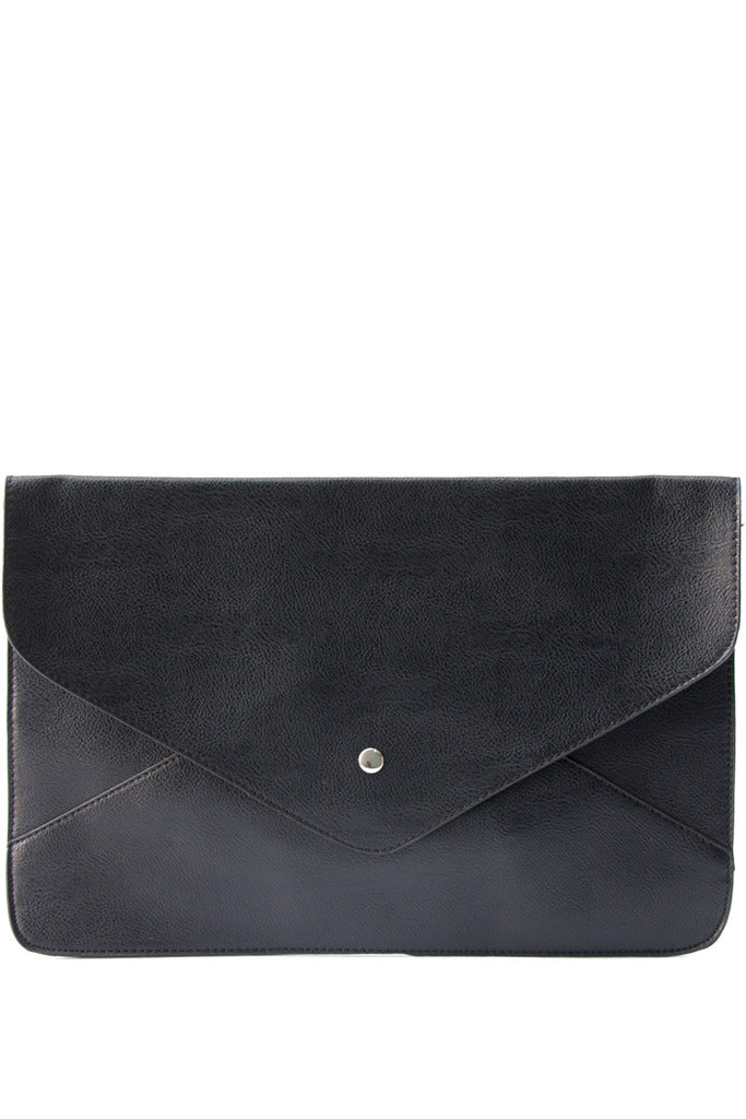 OVERSIZED FLAT ENVELOPE CLUTCH - Black